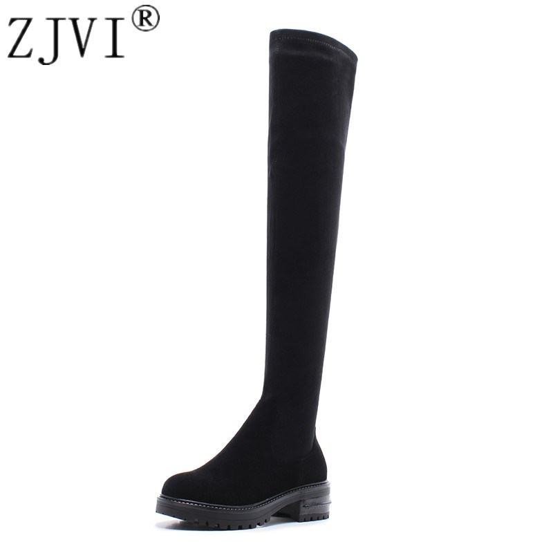 ZJVI women suede genuine leather stretch thigh high boots womens winter autumn over the knee boots 2018 black nubuck woman shoes striped patchwork character girl dresses long sleeve cute mous kids clothing girls dress denim spring summer children clothes