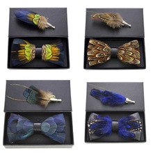 JEMYGINS New Quality Mens Feather and Leather Bow Tie Handmade Pre-tied Bowtie and brooch set With Gift Box Suit Wedding Party