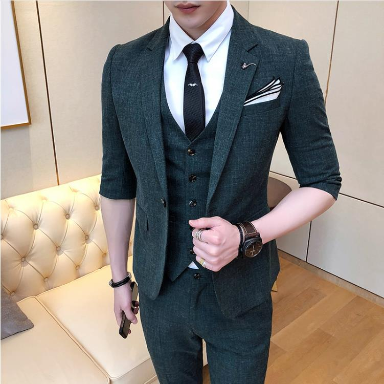 (Jacket+Vest+Pants) Men's Wedding Dress,2019 New Style Mens Fashion Wool Suit Men Short Sleeve Wedding Suits Man Three Pieces