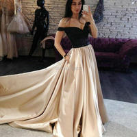 YNQNFS PD51 Chic Off the Shoulder Beaded Belt Black/Champagne Two Tones Two Colors Prom Dresses Long 2018