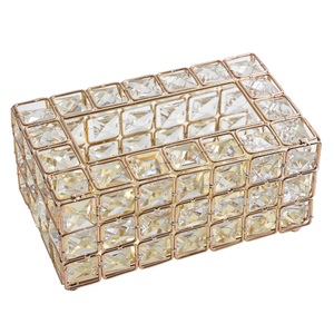 Image 5 - Light Luxury Gold plated Wrought Iron Tissue Box Living Room Storage Tray Napkin Holder Box For Creative Desktop Decoration