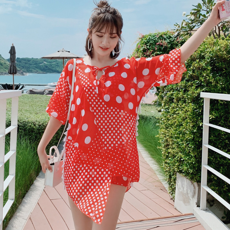 New Arrival Sexy Black Two Piece Suits Women Big Dot Bandage Swimsuit Round Collar Lady Swimwear Mid Waist Sand Bathing Suit
