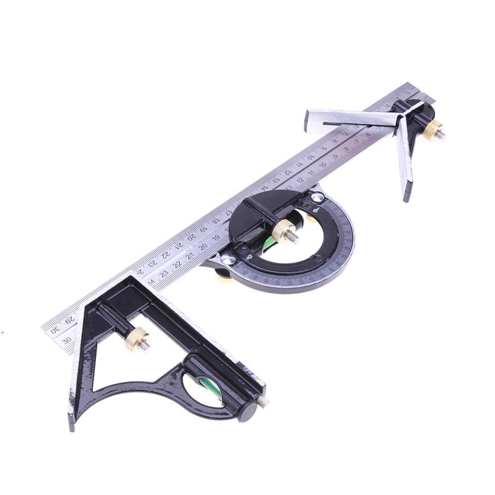 3 en 1 Réglable Règle 300mm/12 Règle Multi Combinaison Carré Angle Finder Rapporteur Spirit Level Mesure de mesure Ensemble