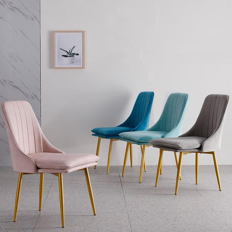 Modern Minimalist Dining Chair Sponge Velvet Restaurant Furniture Chair Restaurant Modern China Iron Chair Wood Kitchen Rest