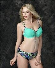 Bandeau Fashion Bikini Plus Size Brand Set Swimsuit Bra Push Up women 2016 Swimwear E669