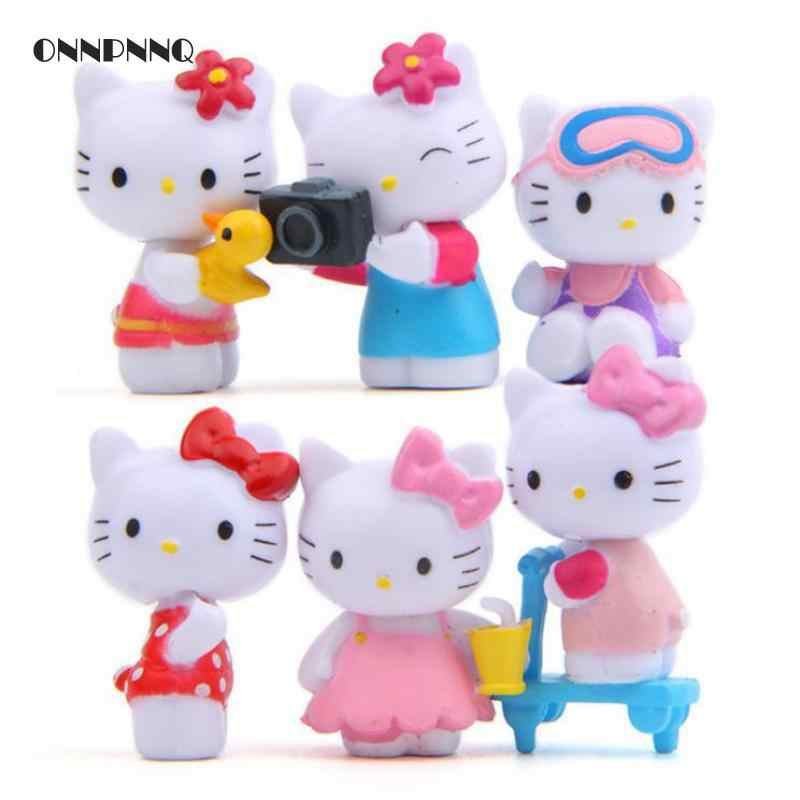 6pcs/set Kawaii Cartoon Animal Hello Kitty Camera Fairy Garden Miniatures Diy Summer Hellokitty Terrarium Figurines Kids Gift