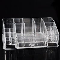 Desktop Clear Storage Box Plastic Cosmetic Organizer 280x162x95mm With Small Drawer Design