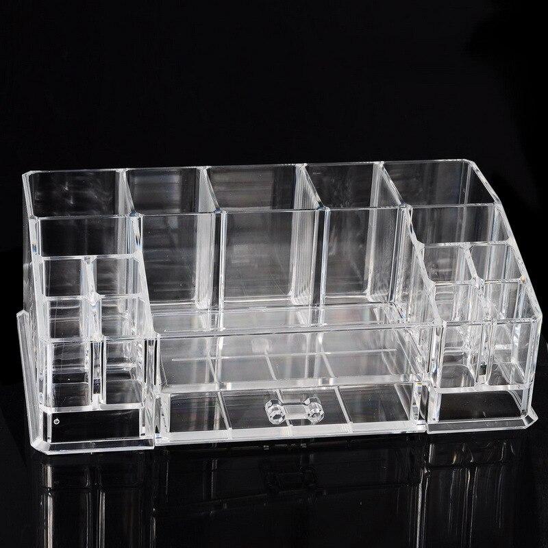 Organisateur cosmétique en plastique de boîte de stockage claire de bureau 280x162x95mm avec la conception de petit tiroir