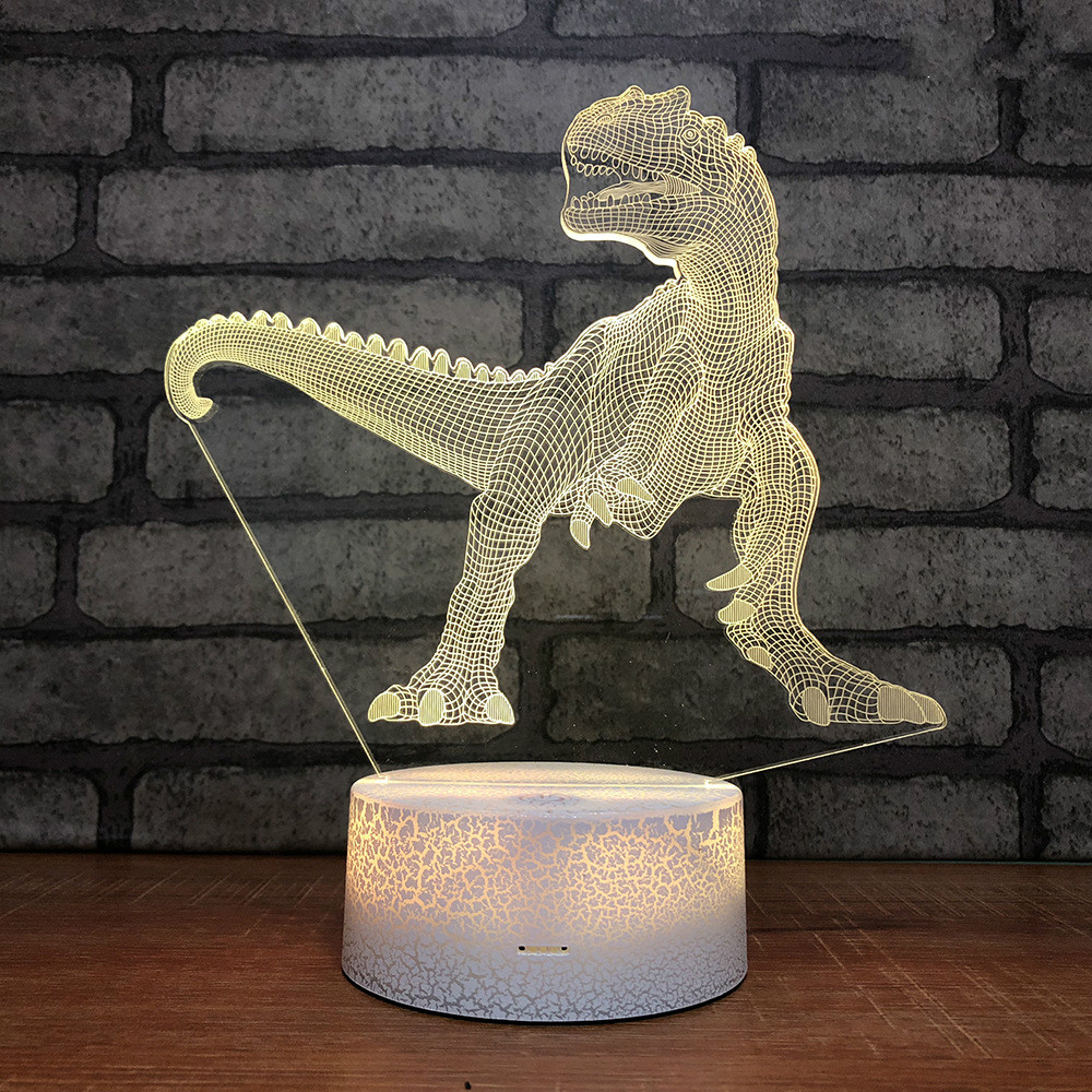 Dino Crack Base 3d Lamp Colorful Creative Individual Night 3d Led Night Light 7 Color Change Christmas Gift Children's Toys