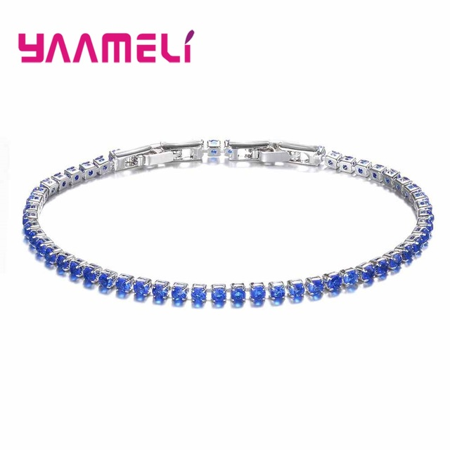 YAAMELI Hot Sale Super Shiny Clear Crystal Cubic Zirconia New Fashion 925 Sterling Silver Bracelets For Women Girl Best Present