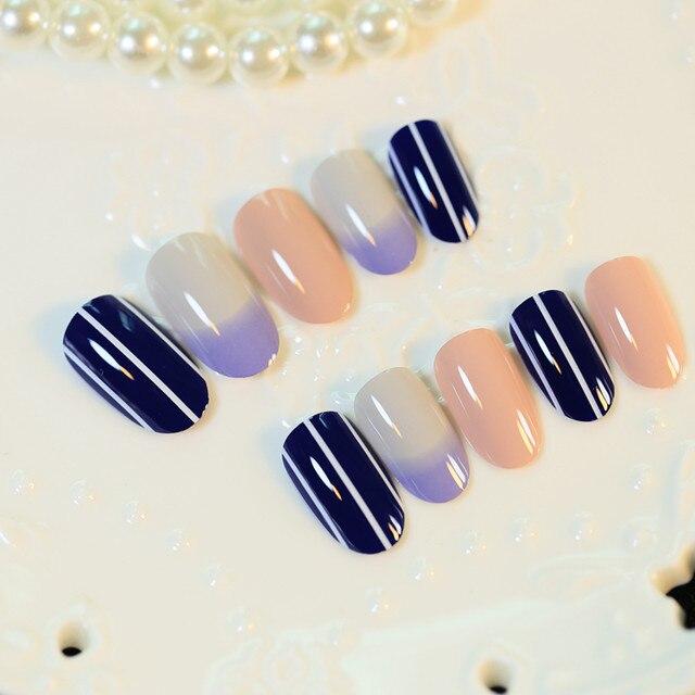 Online Shop Solid Smooth Medium Long Nail Tips 24pcs Deep Blue Nude ...