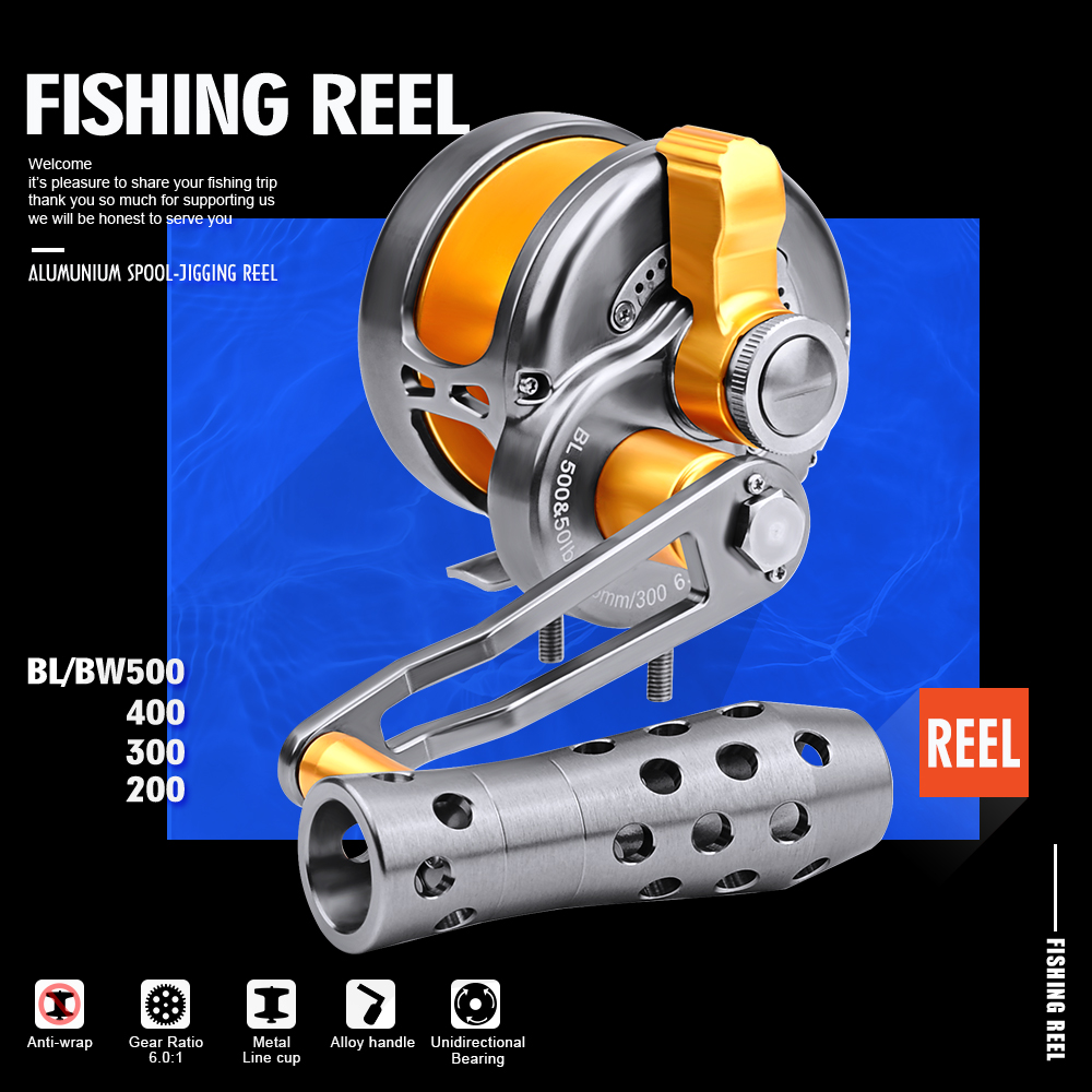 New PRO BEROS New Trolling Reel Aluminum CNC Machined 200 500 Series Fishing Reel Right Hand