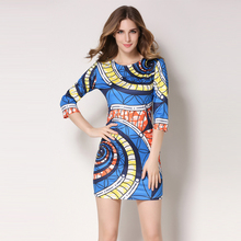 2016 Women Dress Vestidos Designer Elegant Floral Print Work Business Casual Pencil Sheath Sexy bodycon tight dress party dress