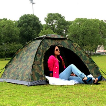 Portable Outdoor Camping Double Persons Tent Waterproof Dirt-proof Camouflage Folding Tent for Travelling Hiking 4