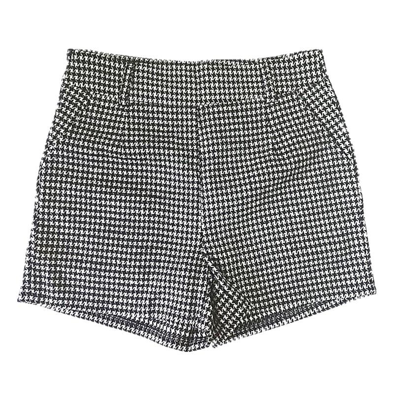 Autumn Winter Women Shorts Mid Waist Houndstooth Shorts Casual Woolen Shorts Women LY61