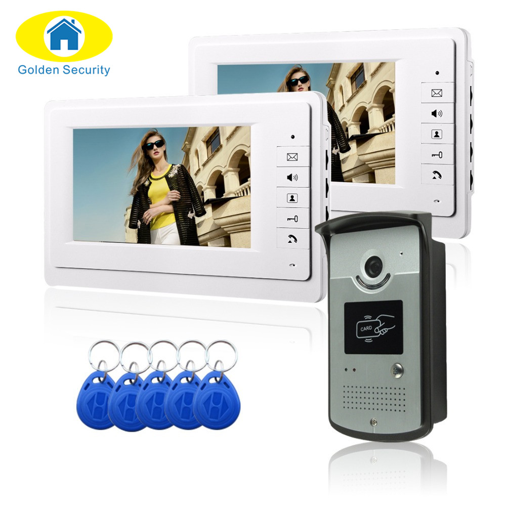 GoldenSecurity Free shipping 7''wired color video door phone Intercom system video doorbell kit IR 1 outdoor camera +2 monitors brand new wired 7 inch color video intercom door phone set system 2 monitor 1 waterproof outdoor camera in stock free shipping