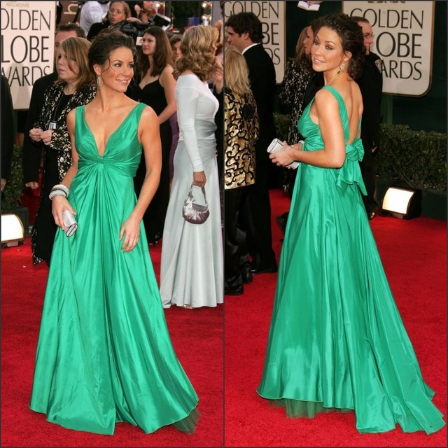 Deep V Neck Cap Sleeve Back Bow Long Train Emerald Green Celebrity Red Carpet Dress