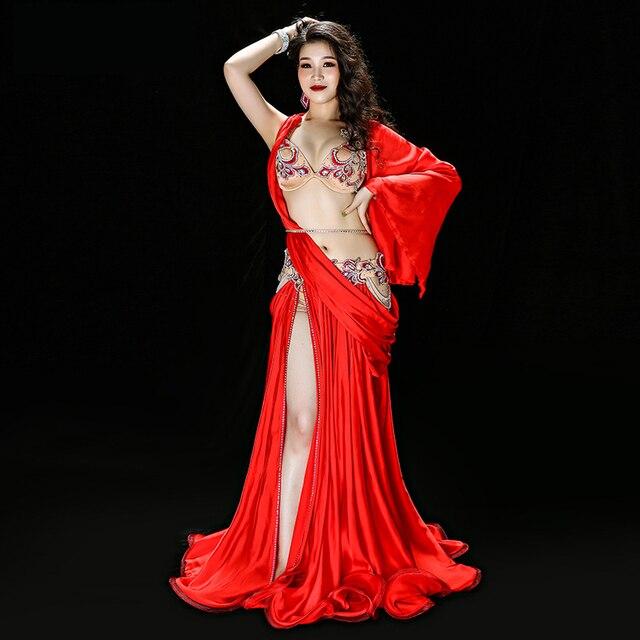 Professionale Egiziano danza del ventre vestito Da Ballo Originale Handmade Del Reggiseno + Skirt + cintura + pantaloni di Sicurezza Vestiti di Prestazione della fase Costume
