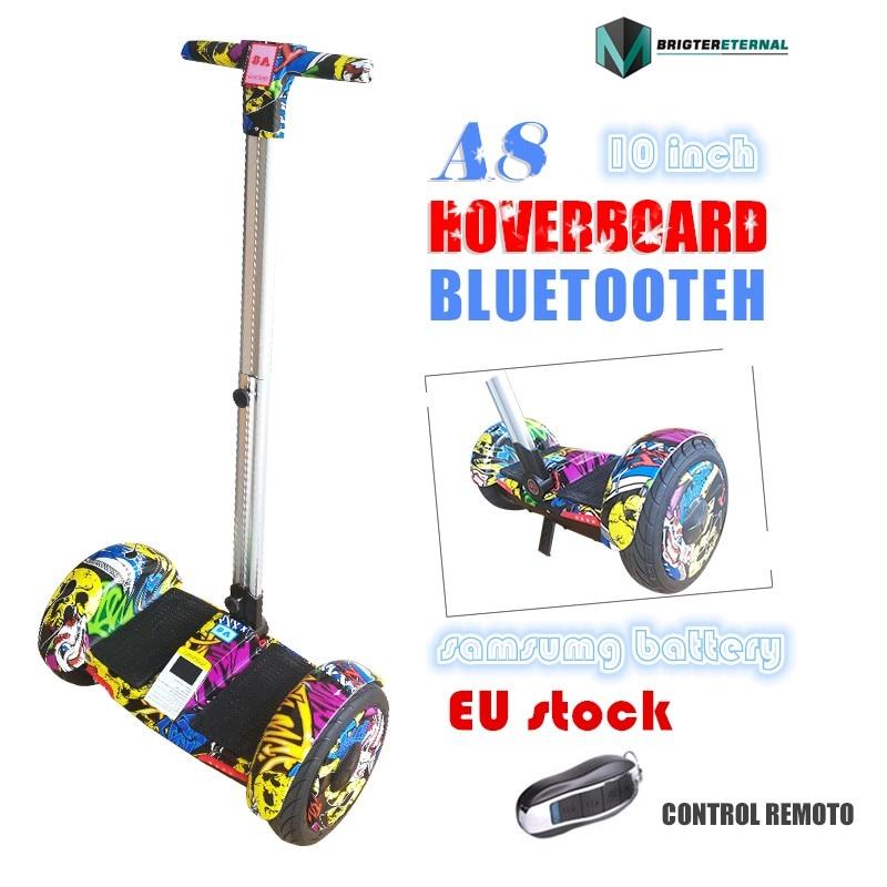 10.5 pouces roues Hoverboard trottinette auto-équilibrée trottinette électrique planche à roulettes avec blutooth A8 grande roue poignée hoaveboard