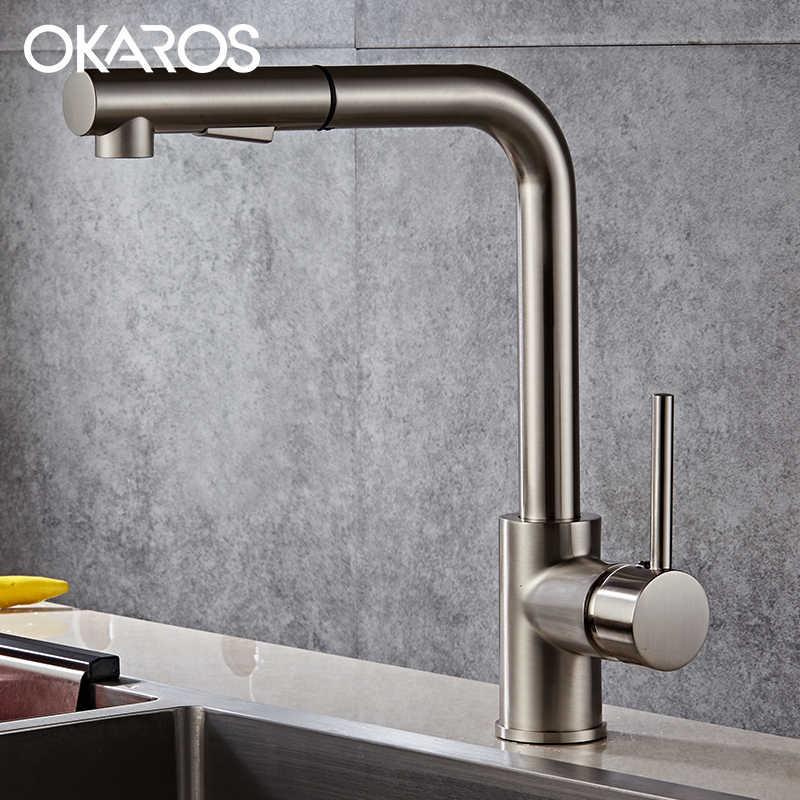 OKAROS кухонный смеситель съемный кран серебро хром Готовые Pull Out вниз воды смеситель современные смесители Torneira Parede C060