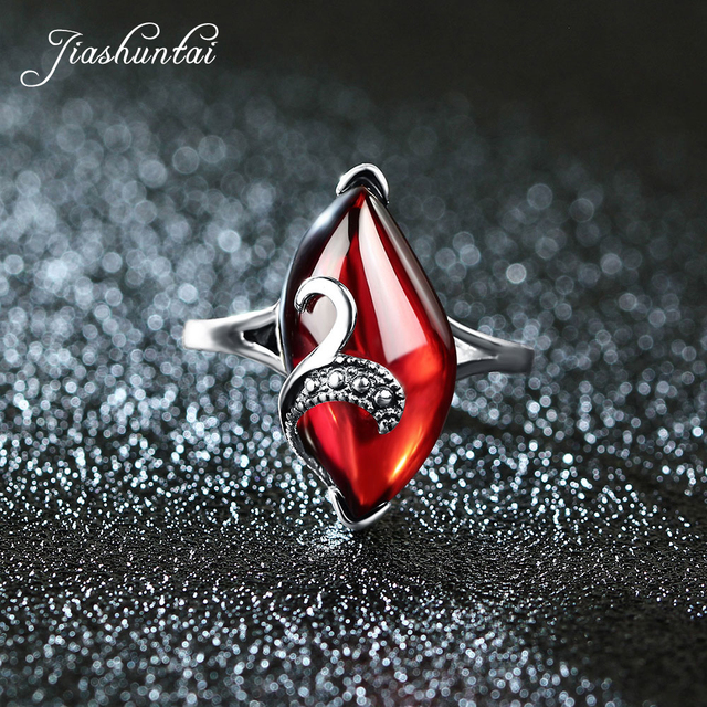 JIASHUNTAI Retro Silver Rings Vintage 925 Sterling Silver Jewelry For Women Red Yellow Stone