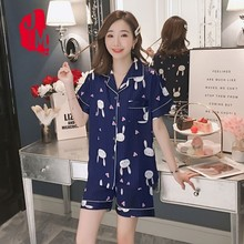 Pyjamas Women Satin Summer Pijamas Set Silk Pajamas Short Sleeves Homewear Pajama Sleepwear Plus Size Sleep