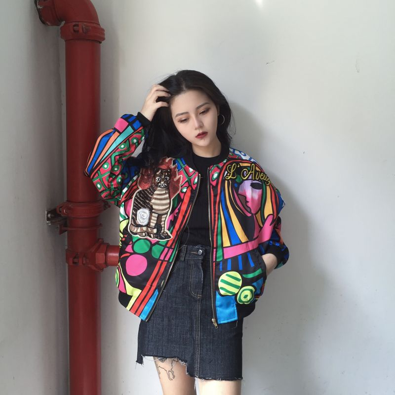 2017 Autumn   Basic     Jackets   Women Female Candy Girl Print Bomber   Jacket   Fitted Ladies   Jacket   YQ81