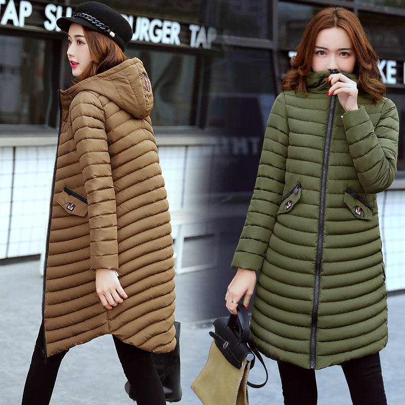Winter new cotton women in the long hooded thick coat Europe and the United States warm wild Slim cotton tide fashion