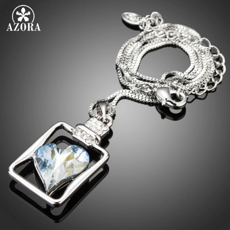 Womens Pendant Necklaces Romantic Big Blue Heart Crystal Pendant Necklaces for Women Fashion Wedding Party Jewelry TN0231
