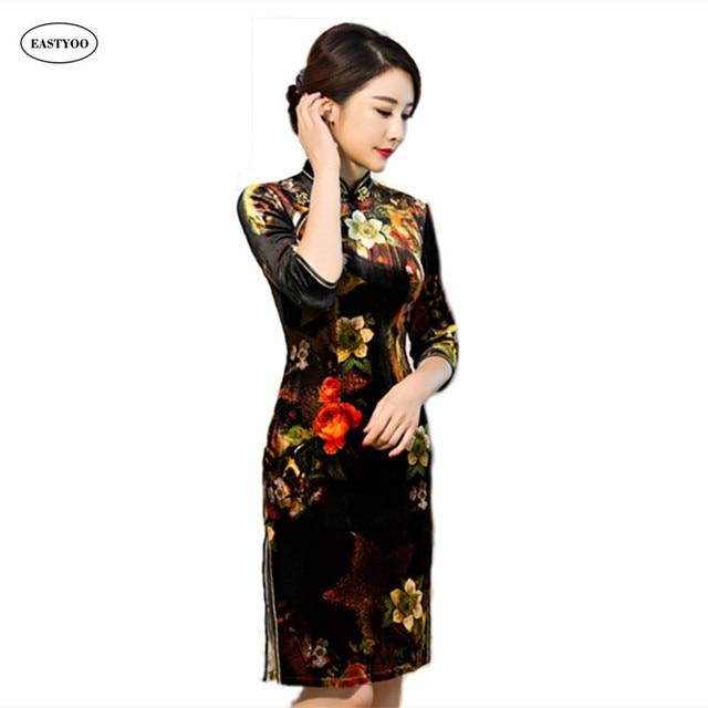 99f2ec48fbf8 Velvet Dress Women Winter 2016 Flora Print Chinese Traditional Dress Half  Sleeve Cheongsam Qipao Short Chinese Oriental Dresses