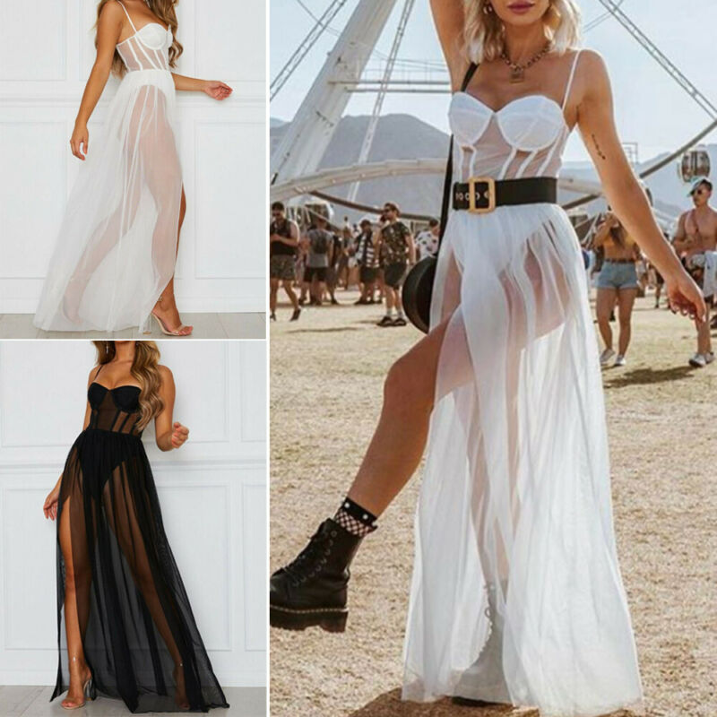 2019 Cover-Ups Women Mesh Long Maxi Dress Evening Cocktail Party Cover Up Beach Sundress Swim