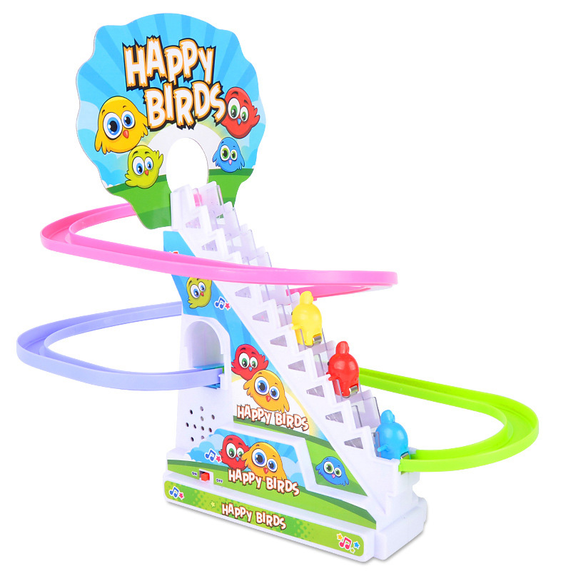 Kids Electric Track Toy Cartoon Rotated Funny Bird Slide Rail Assemble Model Electric Railway Bird Train with Music Light Effect