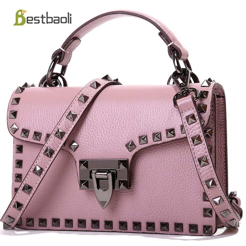 c4d0f9f7bc2 Detail Feedback Questions about Bestbao 2018 The New Women s Shoulder bags  100% Genuine Leather Female Handbags Small Rivet style Crossbody bag Bolsas  ...