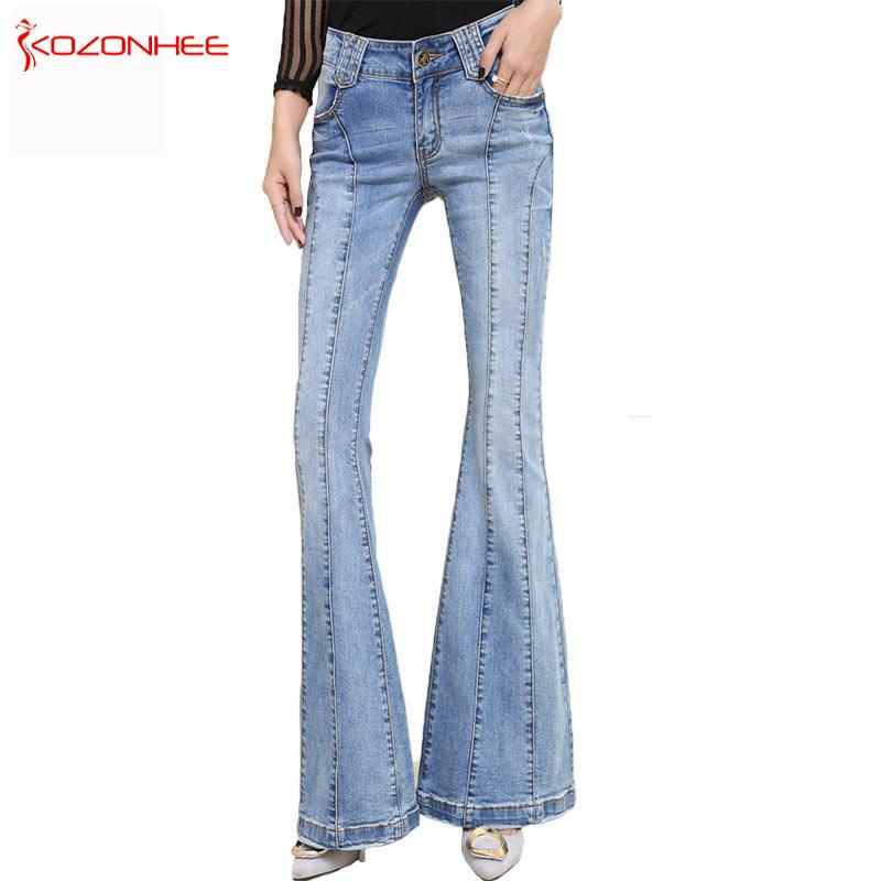 KOZONHEE Stretching Flare Jeans Women Lo