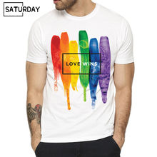 Pride Lgbt Gay Love Lesbian Rainbow Design Print T-shirts for Man and Women Summer Casual Love is Love Tee Shirt Unisex Clothes(China)