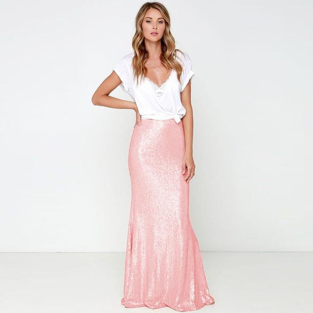 Modest Brilhante Lantejoula Lace Saias Para As Mulheres Da Moda Zipper Estilo Até O Chão Marfim Rosa Saia Longa 2016 Lápis Feitos sob encomenda