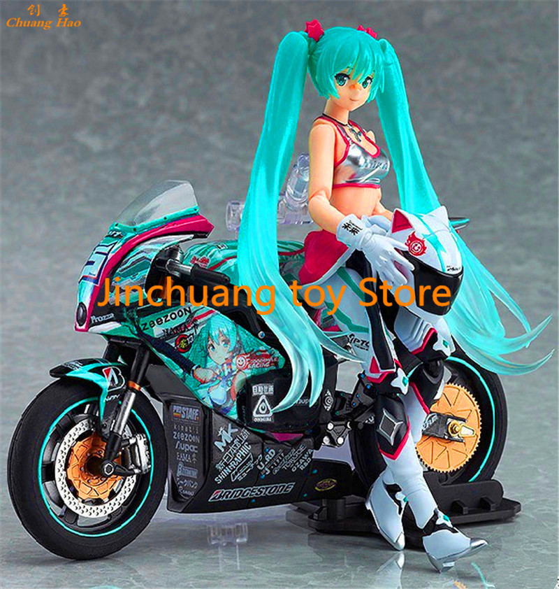 Free Shipping Anime Figma 233 Hatsune Miku with Motorcycle EV PVC Action Figure Collectible Model Toy Best Gift Retail Box DE256