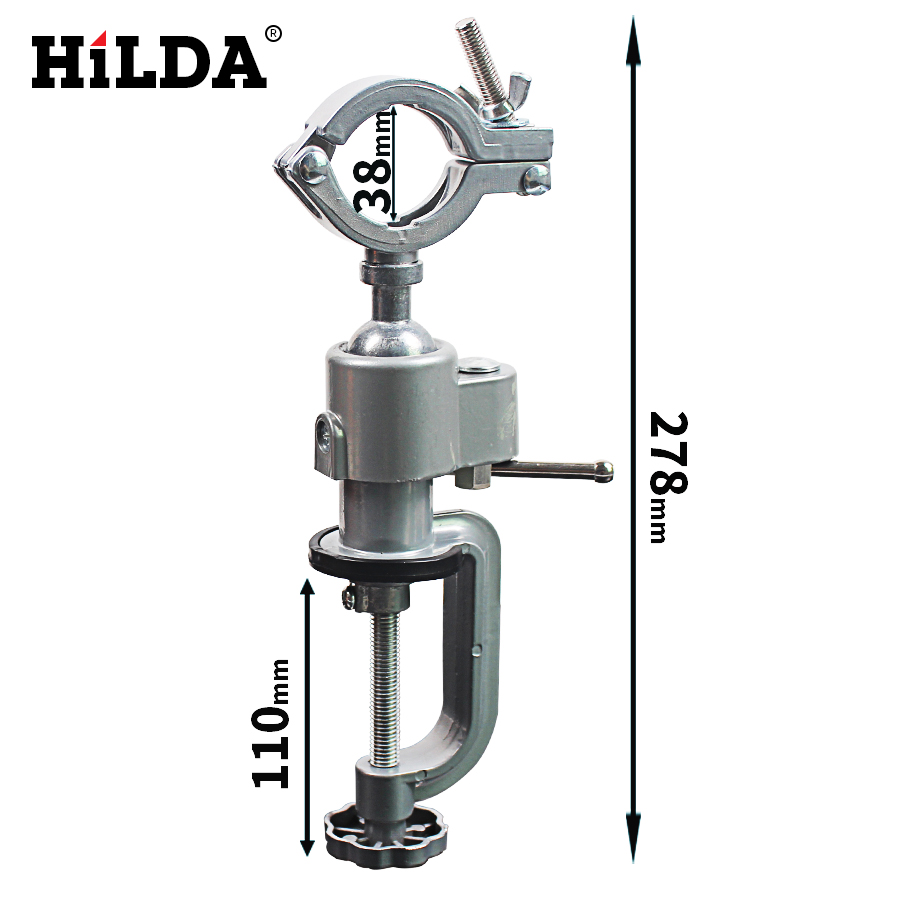 HILDA Aluminum Alloy Bench Vice Electric Drill Stand Holder 360 Degree Rack Multifunctional Bracket Grinder Accessories hilda aluminum alloy bench vice electric drill stand holder 360 degree rack multifunctional bracket grinder accessories