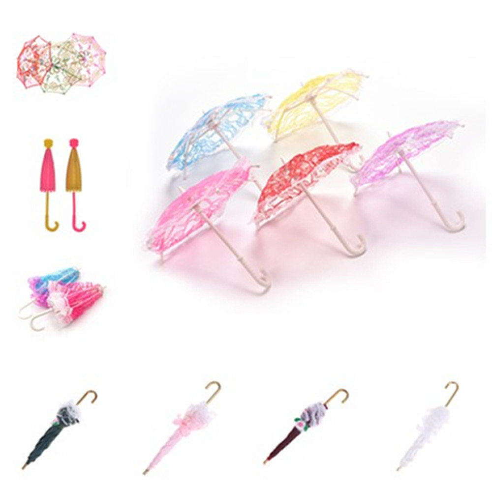 2019 Lace Umbrella Doll Accessories Handmade Doll's Embroidered Umbrella For Dolls Toy Accessories New Style  Gift For Children