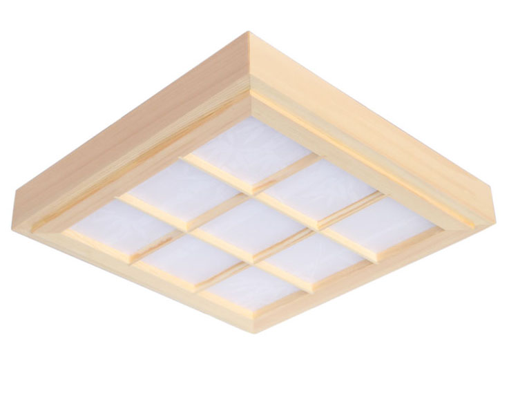 Japanese Style Tatami Ultrathin Natural Color Square Grid Paper LED Wood Pinus Sylvestris Ceiling Lamp Fixture for Aisle Balcony
