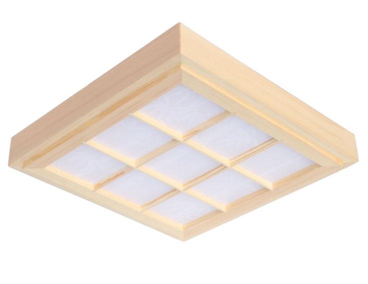 """Japoniško stiliaus """"Tatami"""" ypač plonų natūralių spalvų kvadratinių tinklelių popieriaus LED medienos """"Pinus Sylvestris"""" lubinių šviestuvų šviestuvas praėjimo balkonams"""