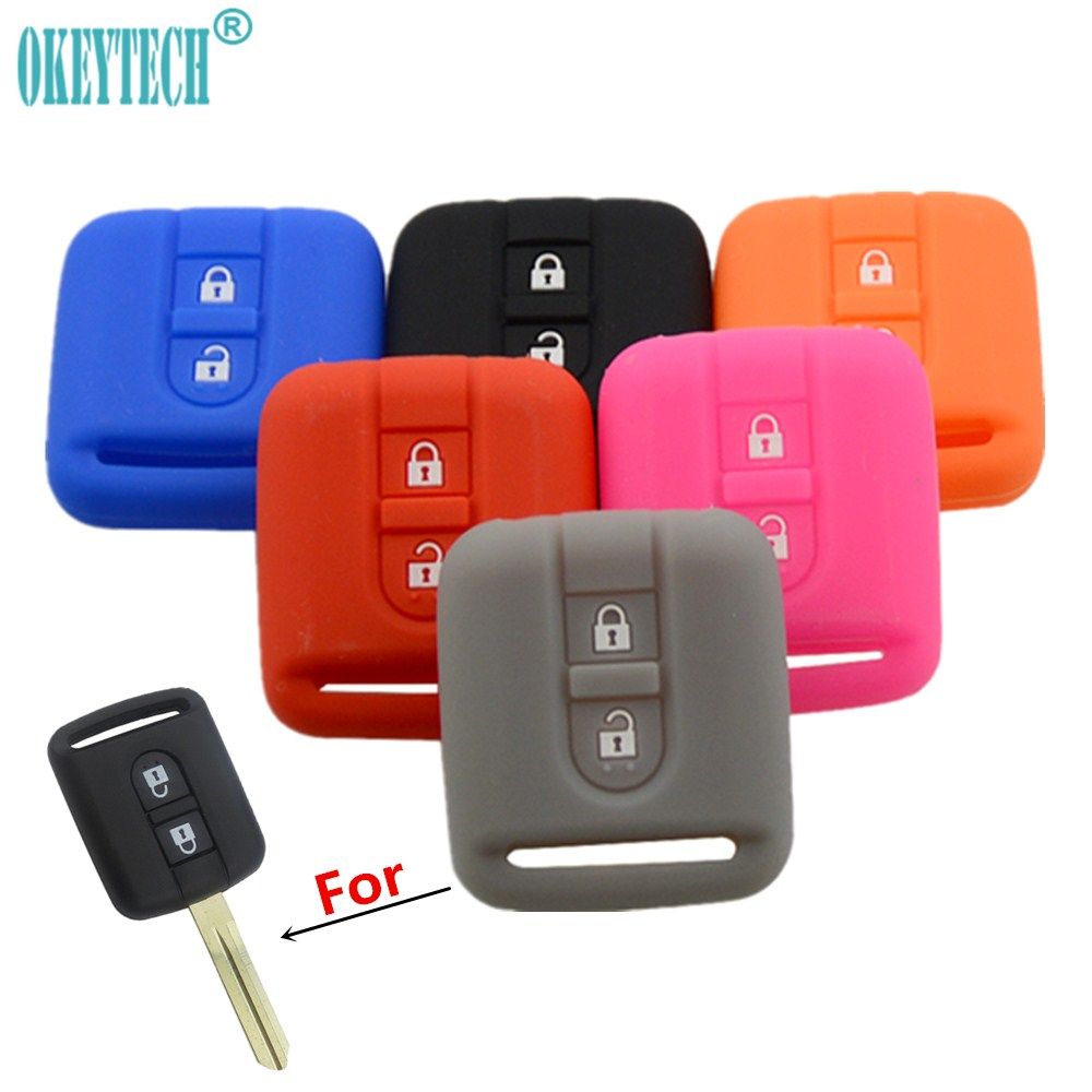 OkeyTech High Quality 2 Buttons Silicone Car Key Cover Case Shell For Nissan Qashqai Micra Navara Almera Auto Key Bag Protector