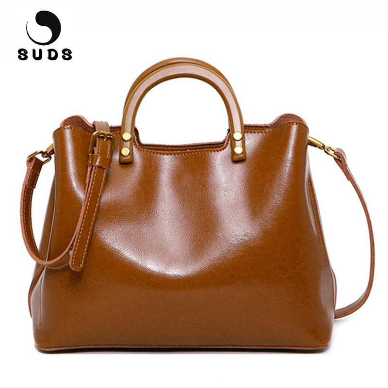 SUDS Brand Women Bag Fashion Genuine Leather Handbag Designer High Quality Female Cow Leather Crossbody Bag Ladies Shop Tote Bag