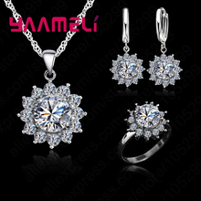 New Fashion Flower SunHigh Quality  Cubic Zirconia AAA+ CZ Stone Jewelry Sets Earrings Pendant Necklace Rings Size6-9