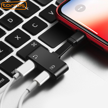 TORRAS 2 in 1 for Lightning Adapter For iPhone 7 Charging Adapter For iPhone 8 7 Plus 10 X Charger Splitter Headphone Adapter slipper