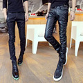 2016 of cultivate one's morality personality tight little leather pants men PU leather pants