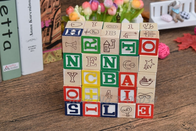 Alphabet Learning Toys : Baby toys abc wooden cube figure blocks educational early