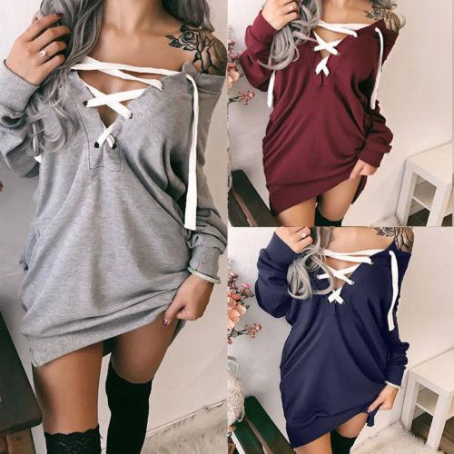 New Womens Warm Long Sleeve Crew Neck Top Pullover Sweatshirts Jumper Sweatshirt For Lady