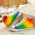 Color del arco iris zapatos pintados a Mano de La Manera Respirable Ocasional Pisos Lona de Los Hombres Zapatos de cordones