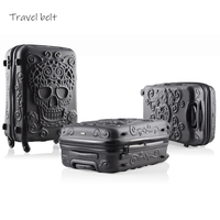 Three pieces for sale together 19/24/28 Inch Rolling Luggage Spinner brand Travel Suitcase Big golden tooth skull